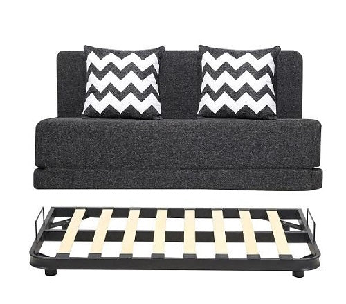 Jute Sofa cum Bed with Metal Frame(4 x 6 ft.) | With 2 Cushions (ZIGZAG Black) Dark Grey