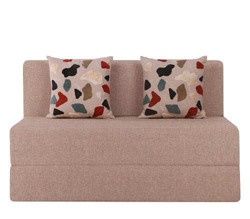 Jute Sofa Bed (4' x 6') - With 2 Cushions(Pebble Pattern) | Beige