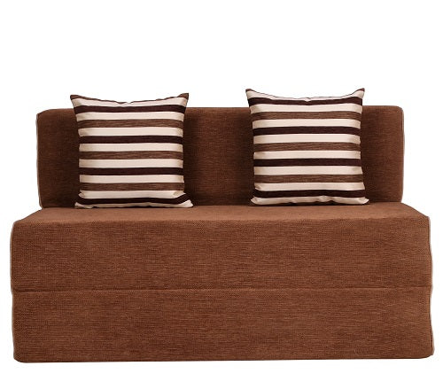 Chennile Sofa Cum Bed (4' x 6')- With 2 Cushions(Striped Brown Pattern) | Dotted Camel Brown