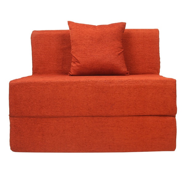 Moshi Sofa Bed (3' x 6') - With One Cushion | Orange