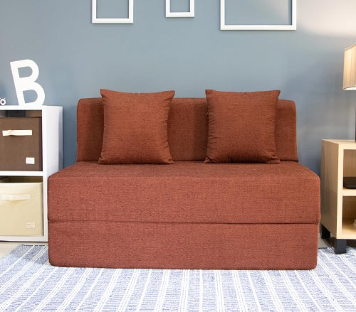 Moshi Sofa Bed (4' x 6') - With 2 Cushions | Light Coffee Brown