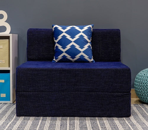 Chennile Sofa Bed (3' x 6') - With 1 Cushion- Arrow Pattern | Dotted Blue