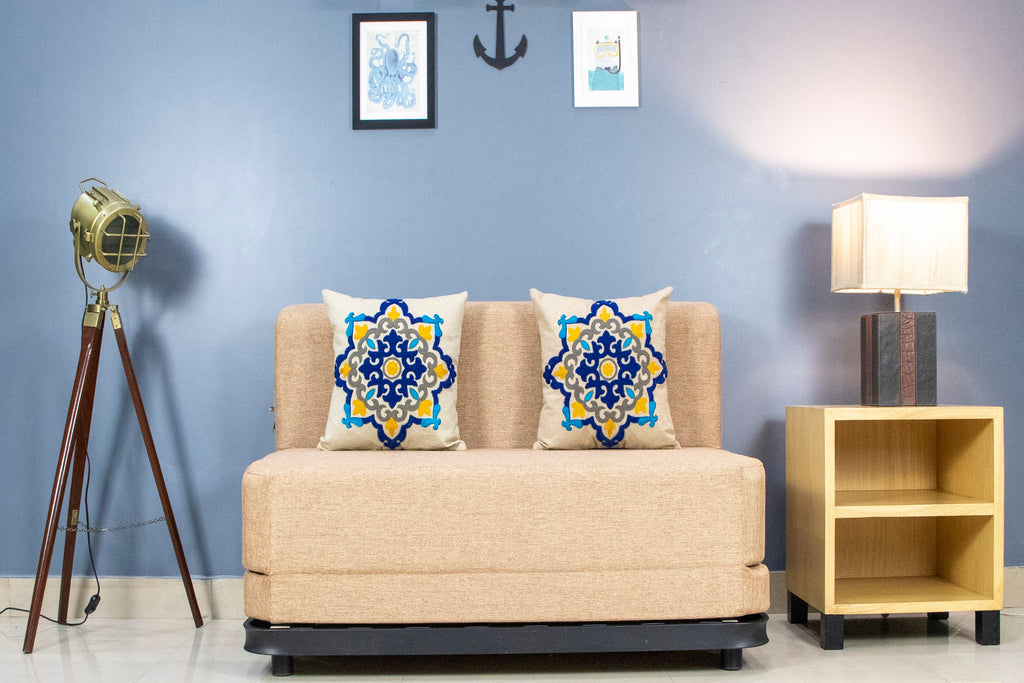 Jute Sofa cum Bed with Metal Frame(4' x 6' ft.) | Beige with 2 Blue Medallion Cushions