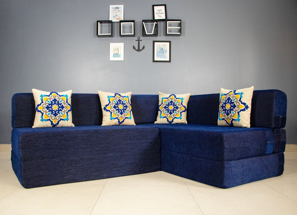Uberlyfe L Shaped Sofa cum Bed- Perfect for Living Room- Folding Foam Sofa Bed cum Convertible mattress- 4 Seater- Dotted Blue with 4 Cushions(Blue Medallion Pattern)