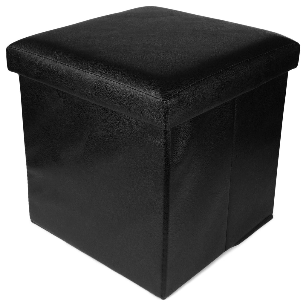 Black Foldable Organizer Stool Chest Storage Box with Lid – Multi-Functional Collapsible Ottoman Footrest Seat Footstool Faux Leather (OTTO-000991-PLBLK)