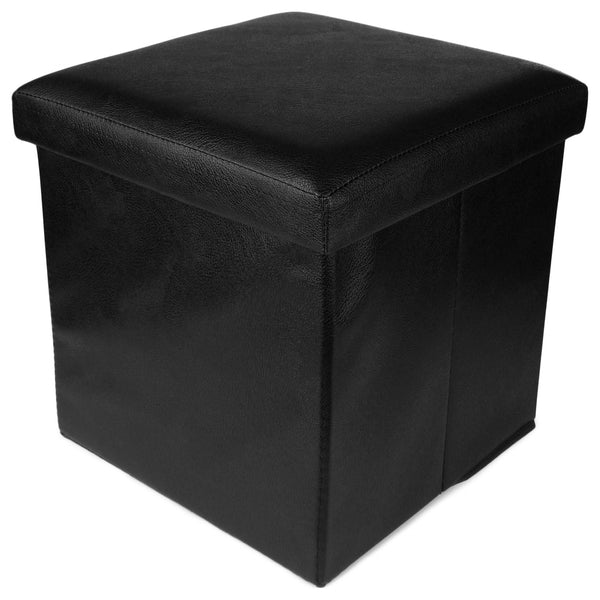 Uberlyfe Foldable Ottoman Storage Box Cum Stool - Black With Thread Pattern (OTTO-000991-PLBLK)
