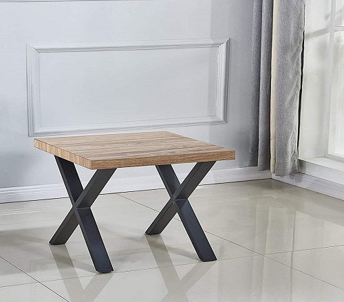 Ashen Wood Finish - Small X Side Coffee Table, Cocktail Table, Center Table for Living Room, Bedroom