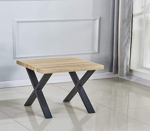 Cedar Wood Finish - Small X Side Coffee Table, Cocktail Table for Living Room, Bedroom