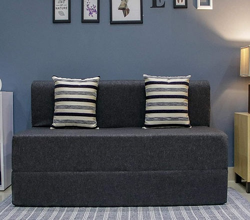Jute Sofa Cum Bed (5' x 6') | With 2 Cushions (Striped Pattern) Dark Grey
