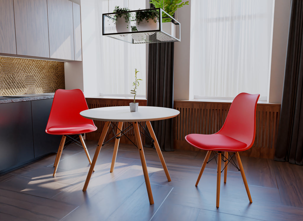 3 Pieces Table Set with 2 Chairs(Red)