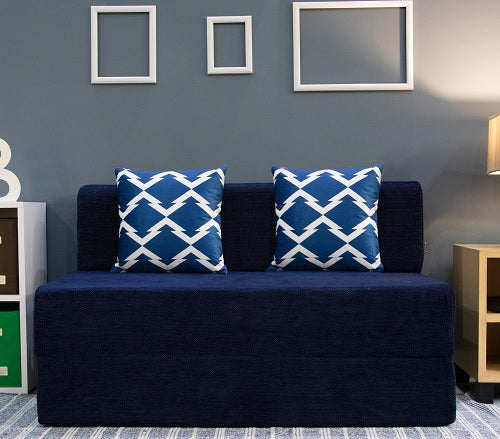 Chennile Sofa Bed (4' x 6') - With 2 Cushions- Arrow Pattern | Dotted Blue