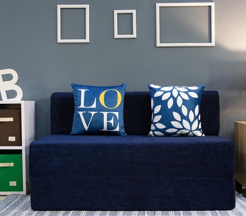 Chennile Sofa Bed (4' x 6') - With 2 Cushions- Love & Leaf Pattern | Dotted Blue