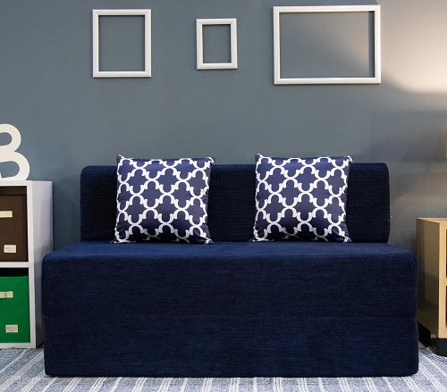 Chennile Sofa Bed (4' x 6') - With 2 Cushions- Semicircle Pattern | Dotted Blue