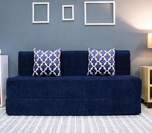 Chennile Sofa Cum Bed (6' x 6') | With 2 Cushions (Semicircle Pattern) | Dotted Blue
