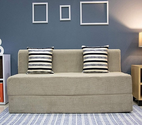 Chennile Sofa Cum Bed (5' x 6') | With 2 Cushions (Striped Black Pattern) | Dotted Cream