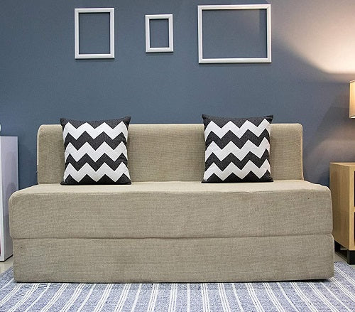 Chennile Sofa Cum Bed (5' x 6') | With 2 Cushions (Zigzag Pattern) | Dotted Cream
