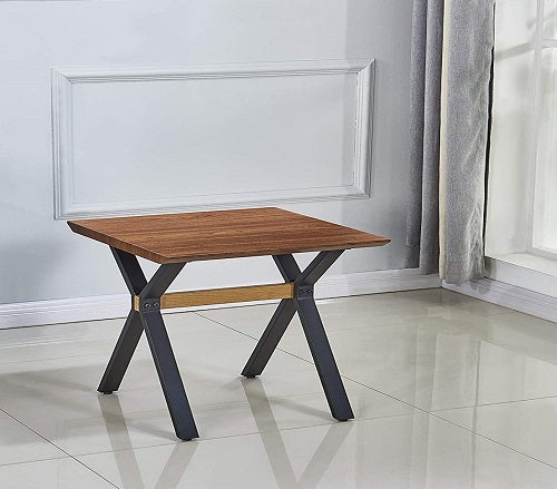 Teak Wood Finish - Small H Side Coffee Table, Cocktail Table, Center Table for Living Room, Bedroom - Misty Brown