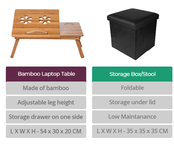 Uberlyfe Bamboo Multipurpose Foldable Laptop Table | Brown