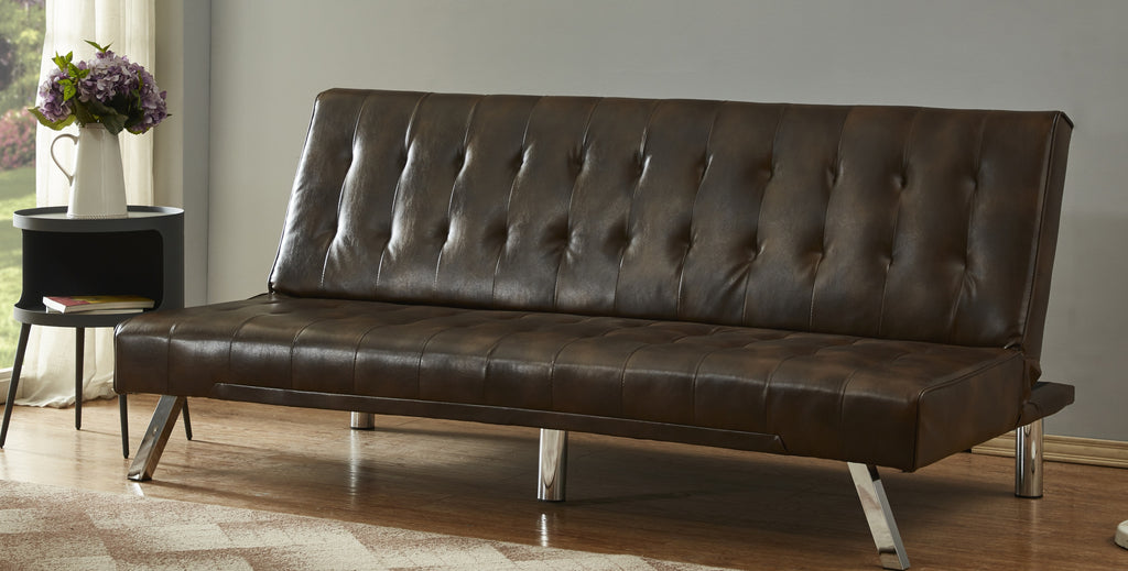 Uberlyfe Cardiff 3 Seater Sofa Cum Bed | Brown Color.
