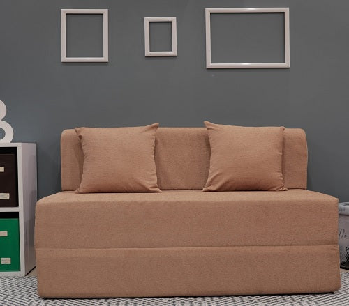 Moshi Sofa Bed (4' x 6') - With 2 Cushions | Light Brown