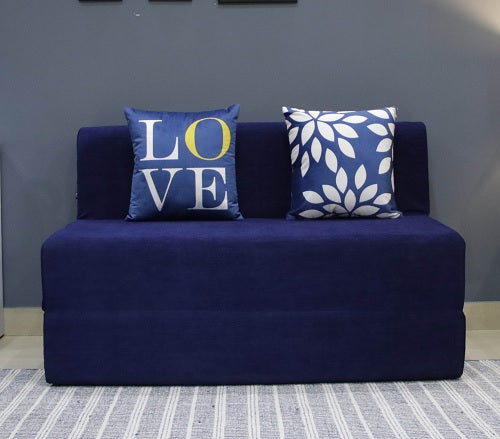Moshi Sofa Bed (4' x 6') - With 2 Cushions- Love & Leaf Pattern | Navy Blue