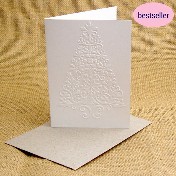 embossed christmas tree card