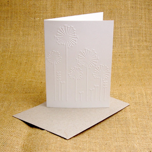 embossed dandelion card