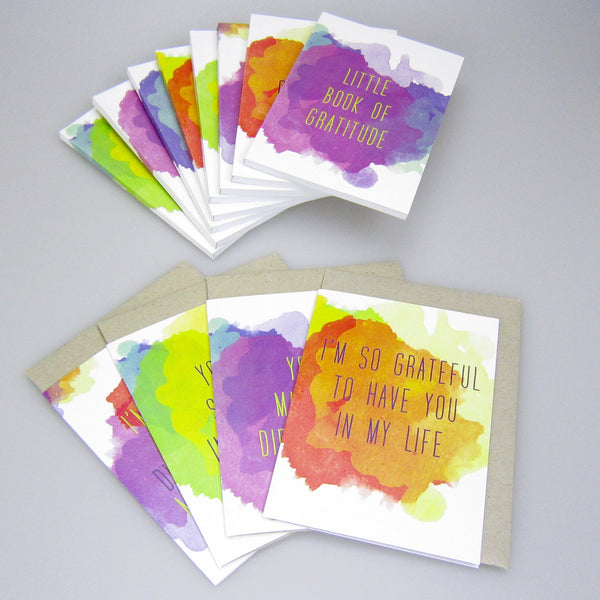 set of eight gratitude notebooks + four gratitude cards set