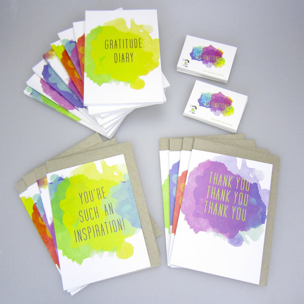 set of eight gratitude notebooks + two affirmation cards sets + eight card set