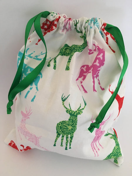reusable Christmas gift bag (small) - 'deer'