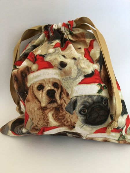 reusable Christmas gift bag (small) - 'dogs'