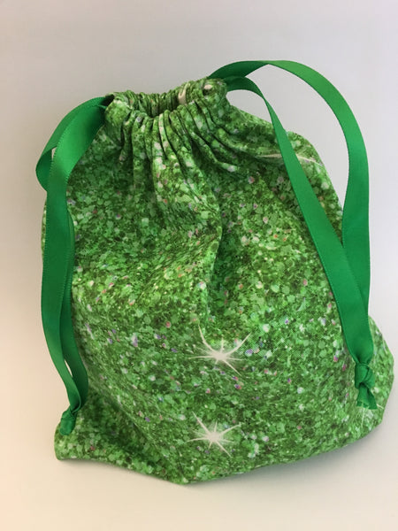 reusable Christmas gift bag (small) - 'green sparkle'