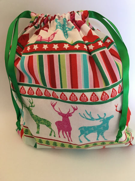 reusable Christmas gift bag (medium) - 'deer'
