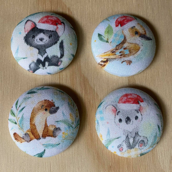 xmas australiana magnets - set of four