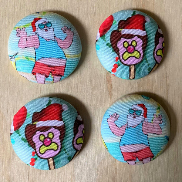 xmas santa and ice cream magnets - set of four