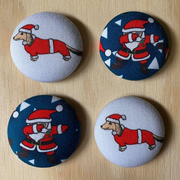 xmas dachshund and santa magnets - set of four
