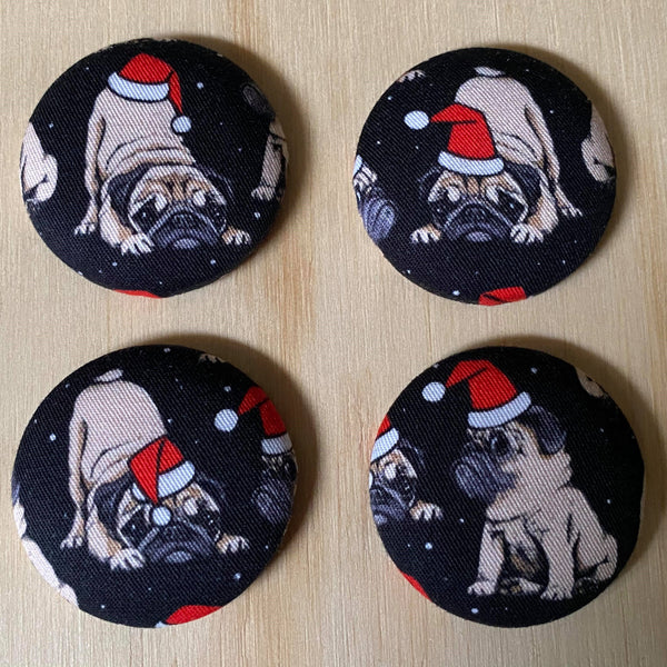 xmas pugs magnets - set of four