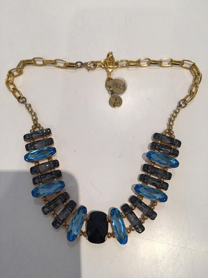 Crystal Necklace- Swarovski crystal blue and black w/ gold chain