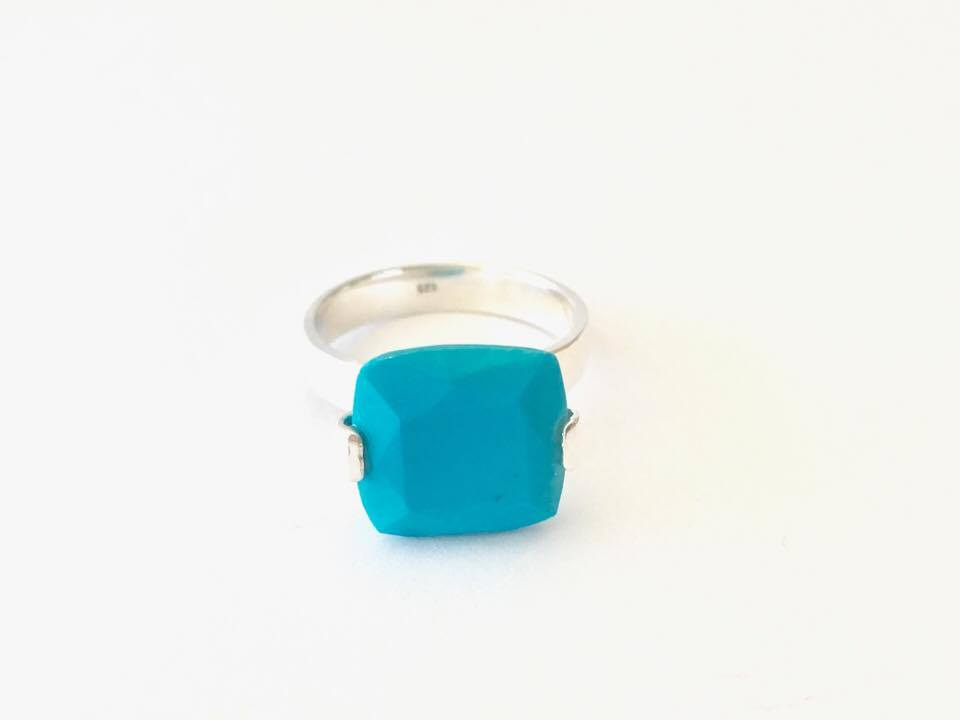 Crystal Ring - Silver Band With Square Stone