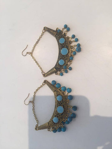 Antique Earrings- gold Large Chain w/ drop with turquoise beads