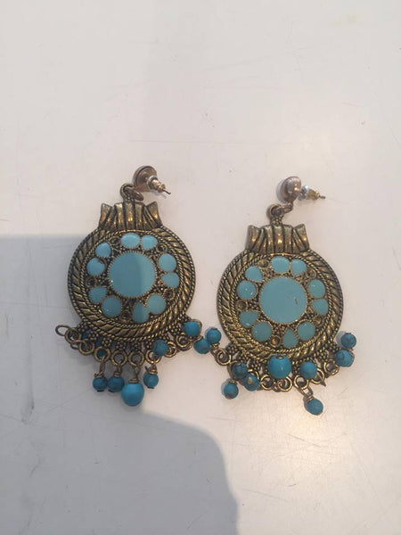 Antique Earrings - Gold round with turquoise