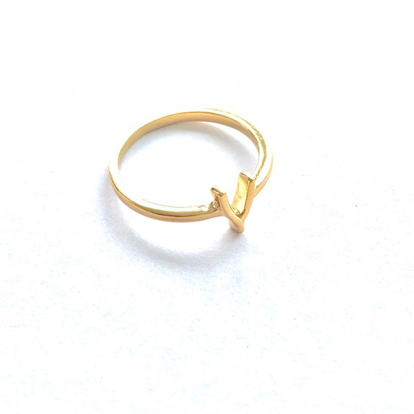 Fine Collection Ring - gold plated wishbone symbol