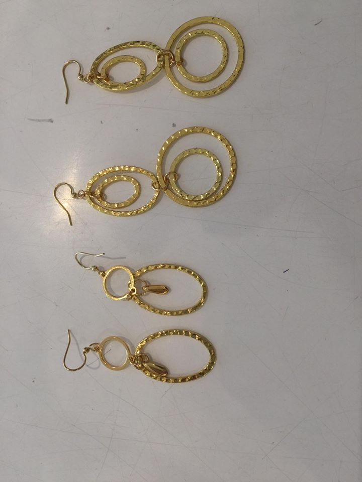 Fine Collection Earrings- Gold Hoops with dents