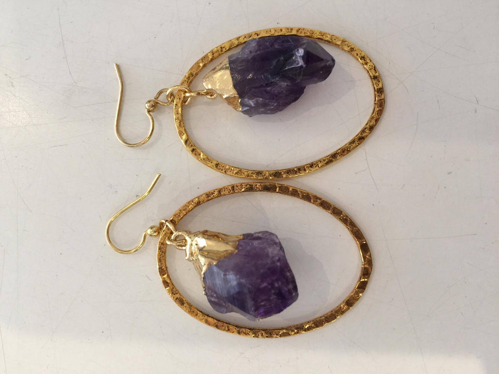 Crystal Earrings- Amethyst & Gold