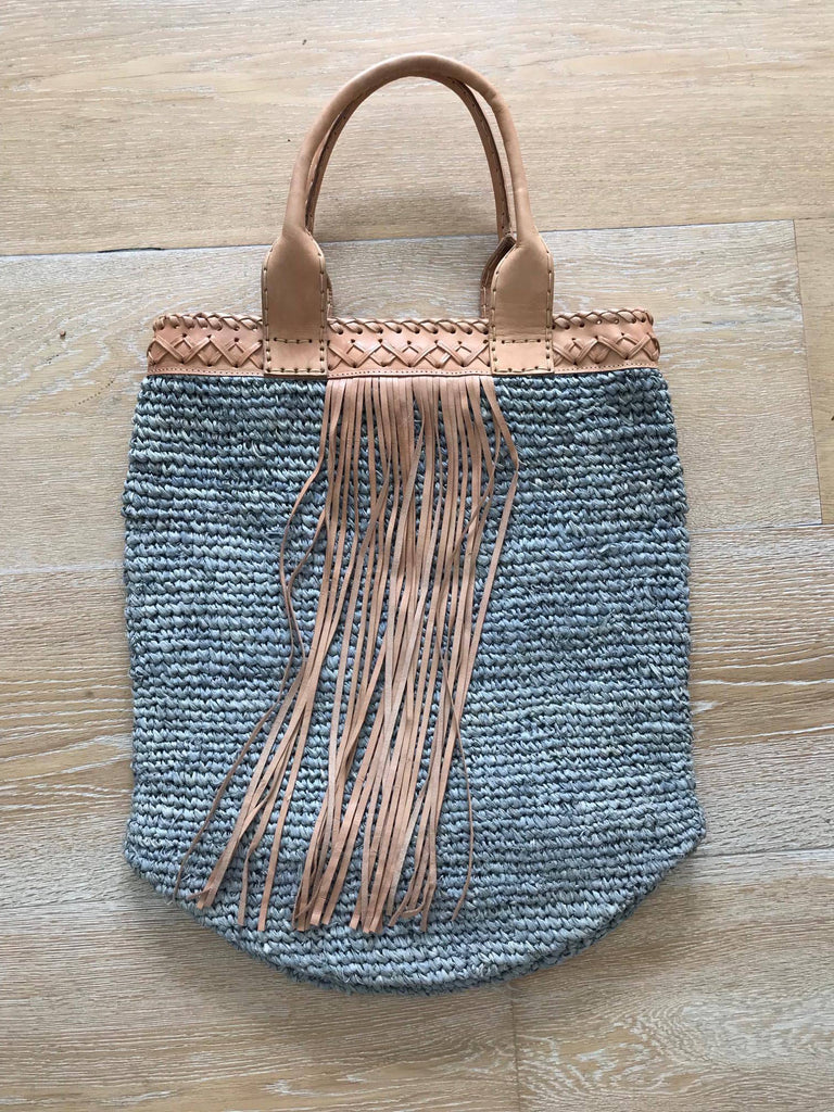 Ratan Bag- Long side with tassel and Leather Handle