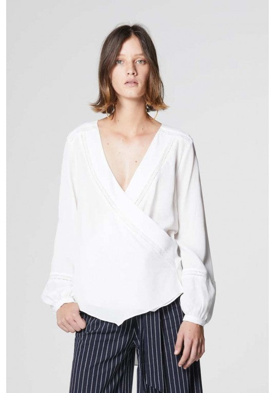 Sabina Lace Insert Wrap Blouse - ONCE WAS