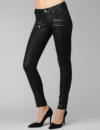 Women's legs with black thin jeans and black shoes on heels- Black Fog Luxe Coating