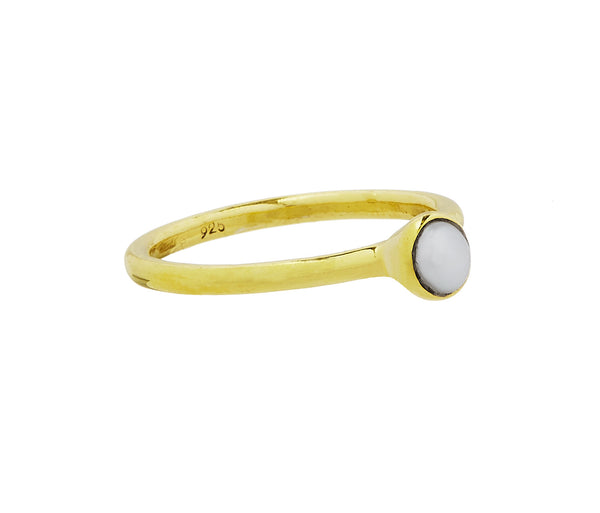 Fine Collection Gold Ring with Semi-precious Stone- Round Stone