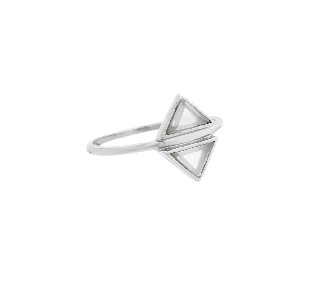 Fine Collection Ring- Silver Coloured Mirrored Triangle