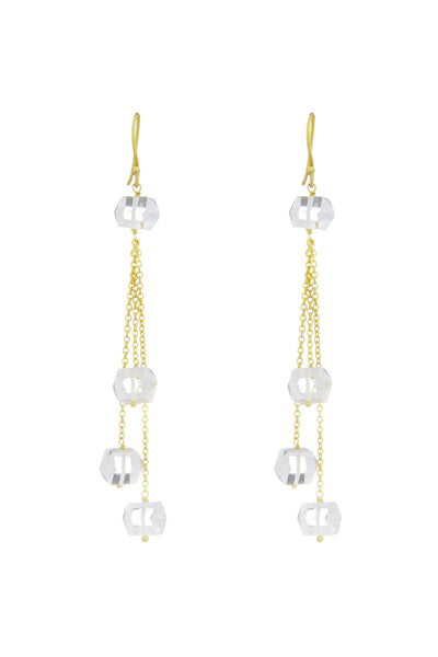 Crystal Earrings- Gold w/ Multi Drop